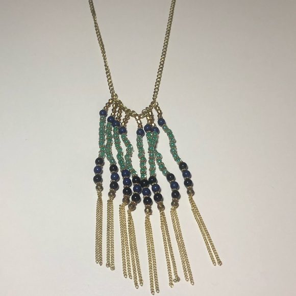 LC Lauren Conrad Blue and Gold Long Necklace